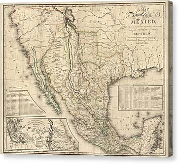 Antique Map Of Mexico By Henry Schenck Tanner - 1826 Canvas Print