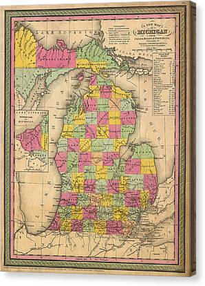Antique Map Of Michigan 1853 Canvas Print by Mountain Dreams