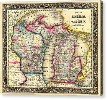 Chicago Canvas Print - Antique Map Of Michigan And Wisconsin 1860 by Mountain Dreams