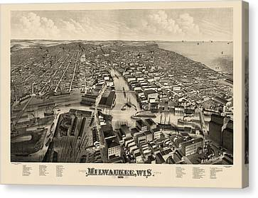 Old Canvas Print - Antique Map Of Milwaukee Wisconsin By J.j. Stoner - 1879 by Blue Monocle