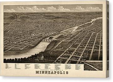 Old Canvas Print - Antique Map Of Minneapolis Minnesota By A. Ruger - 1879 by Blue Monocle