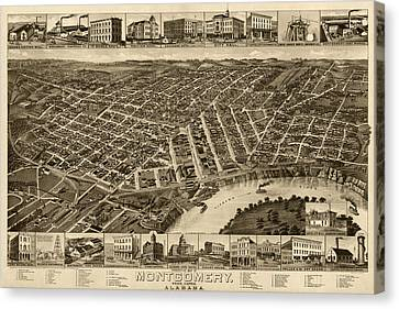 Antique Map Of Montgomery Alabama By H. Wellge - 1887 Canvas Print