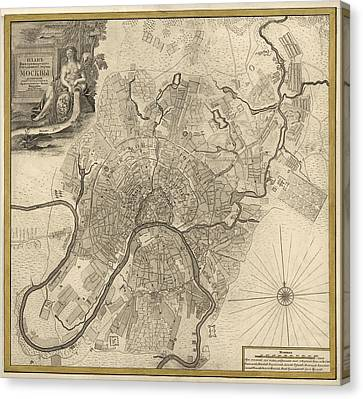 Old Canvas Print - Antique Map Of Moscow Russia By Ivan Fedorovich Michurin - 1745 by Blue Monocle