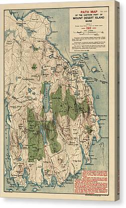 Old Canvas Print - Antique Map Of Mount Desert Island - Acadia National Park - By Waldron Bates - 1911 by Blue Monocle