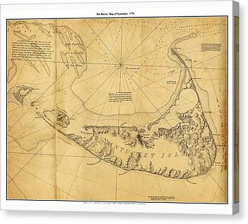 Antique Map Of Nantucket Canvas Print by Celestial Images