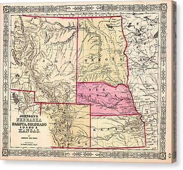 Antique Map Of Nebraska Dakota Colorado Idaho And Kansas 1863 Canvas Print by Mountain Dreams