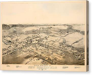 Antique Map Of New Braunfels Texas 1881 Canvas Print