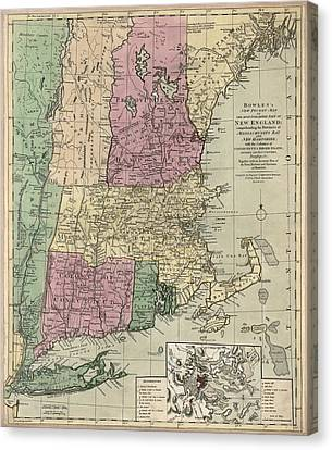 Old Canvas Print - Antique Map Of New England By Carington Bowles - Circa 1780 by Blue Monocle