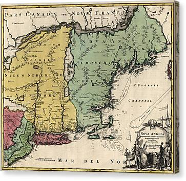Antique Map Of New England By Johann Baptist Homann - Circa 1760 Canvas Print by Blue Monocle