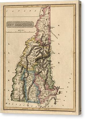 Old Canvas Print - Antique Map Of New Hampshire By Fielding Lucas - Circa 1817 by Blue Monocle
