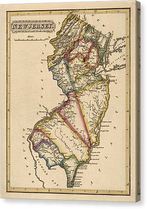 Antique Map Of New Jersey By Fielding Lucas - Circa 1817 Canvas Print by Blue Monocle