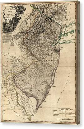 Old Canvas Print - Antique Map Of New Jersey By William Faden - 1778 by Blue Monocle