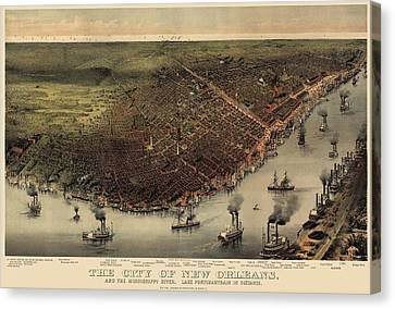Antique Map Of New Orleans By Currier And Ives - Circa 1885 Canvas Print by Blue Monocle