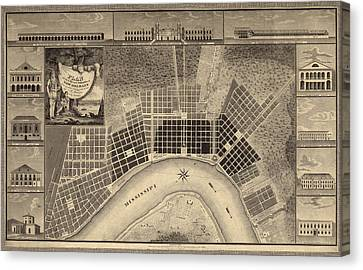 Antique Map Of New Orleans By I. Tanesse - 1817 Canvas Print by Blue Monocle