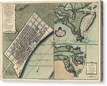 Old Canvas Print - Antique Map Of New Orleans By Thomas Jefferys - 1759 by Blue Monocle