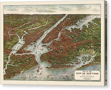 Antique Map Of New York City By August R. Ohman - 1907 Canvas Print by Blue Monocle