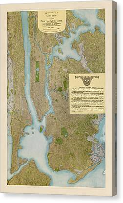 Antique Map Of New York City By C. P. Gray - 1913 Canvas Print by Blue Monocle