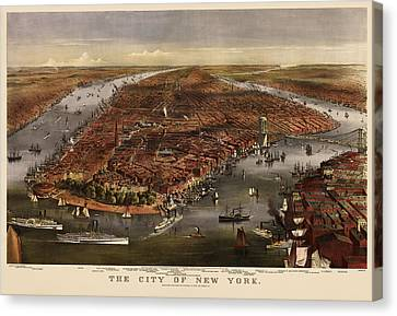 Antique Map Of New York City By Currier And Ives - 1870 Canvas Print by Blue Monocle