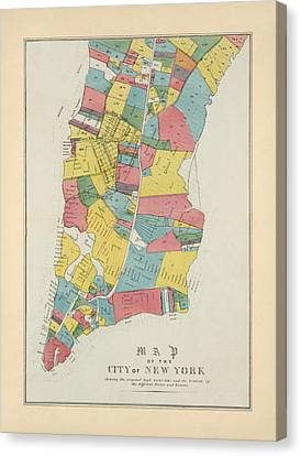 Antique Map Of New York City By George Hayward - 1852 Canvas Print by Blue Monocle