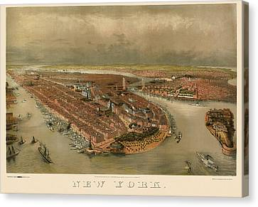Antique Map Of New York City By George Schlegel - Circa 1874 Canvas Print by Blue Monocle