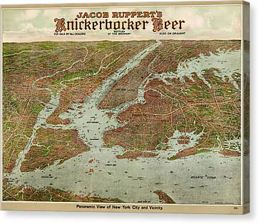Antique Map Of New York City By Jacob Ruppert - 1912 Canvas Print by Blue Monocle