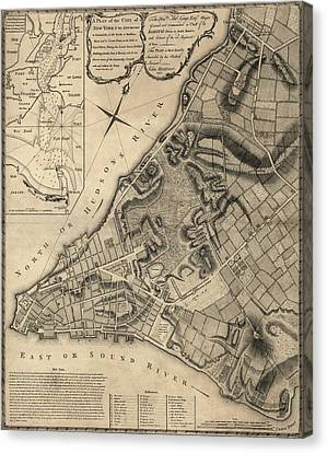 Antique Map Of New York City By John Montresor - 1766 Canvas Print by Blue Monocle
