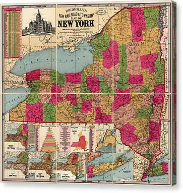 Canvas Print featuring the drawing Antique Map Of New York State By E. C. Bridgman - 1896 by Blue Monocle