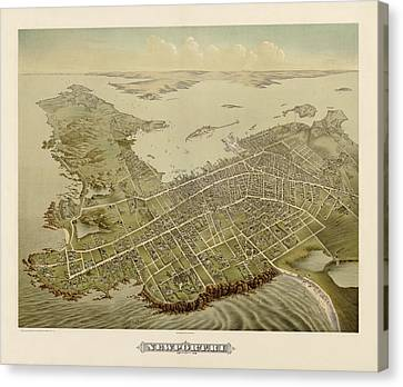 Rhode Island Map Canvas Print - Antique Map Of Newport Rhode Island By Galt And Hoy - 1878 by Blue Monocle