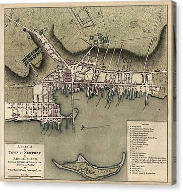 Antique Map Of Newport Rhode Island By William Faden - 1777 Canvas Print by Blue Monocle