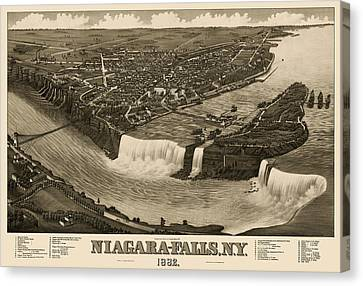 Old Canvas Print - Antique Map Of Niagara Falls New York By H. Wellge - 1882 by Blue Monocle