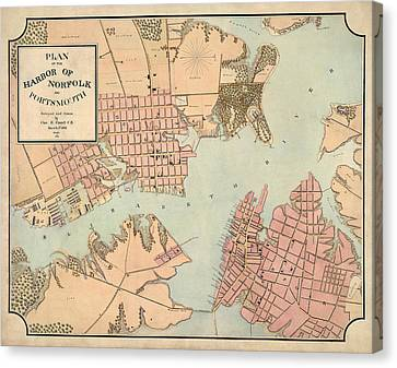 Virginia Canvas Print - Antique Map Of Norfolk And Portsmouth Virginia By Charles E. Cassell - 1861 by Blue Monocle
