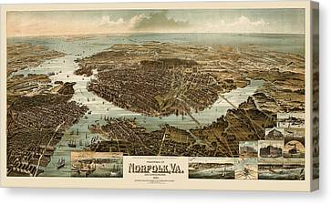 Virginia Canvas Print - Antique Map Of Norfolk And Portsmouth Virginia By H. Wellge - 1892 by Blue Monocle