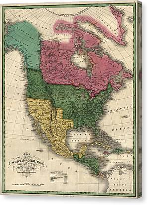 Antique Map Of North America By D. H. Vance - 1826 Canvas Print by Blue Monocle