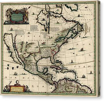 Old Canvas Print - Antique Map Of North America By Jan Jansson - Circa 1652 by Blue Monocle