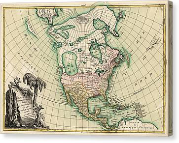Antique Map Of North America By Jean Janvier - 1762 Canvas Print by Blue Monocle
