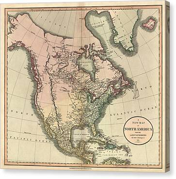 Antique Map Of North America By John Cary - 1811 Canvas Print by Blue Monocle