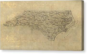 Old Canvas Print - Antique Map Of North Carolina - 1893 by Blue Monocle