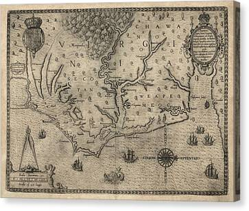Antique Map Of North Carolina And Virginia By John White - 1590 Canvas Print by Blue Monocle