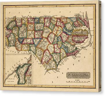 Antique Map Of North Carolina By Fielding Lucas - Circa 1817 Canvas Print by Blue Monocle