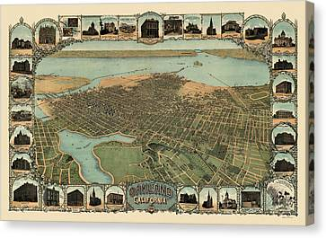 Antique Map Of Oakland California By Fred Soderberg - 1900 Canvas Print by Blue Monocle