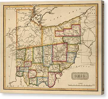 Antique Map Of Ohio By Fielding Lucas - Circa 1817 Canvas Print by Blue Monocle