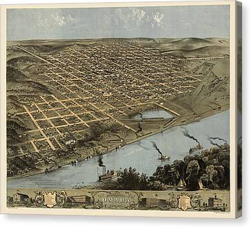 Antique Map Of Omaha Nebraska By A. Ruger - 1868 Canvas Print by Blue Monocle