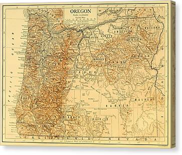 Antique Map Of Oregon 1911 Canvas Print by Mountain Dreams