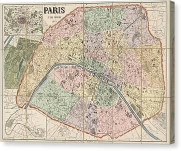 Old Canvas Print - Antique Map Of Paris France By Delagrave - 1878 by Blue Monocle