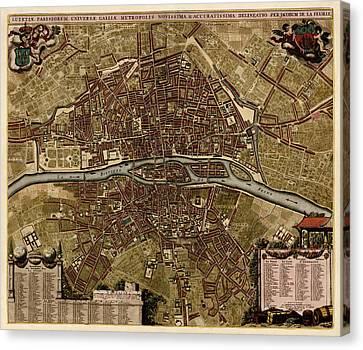 Old Canvas Print - Antique Map Of Paris France By Jacob De La Feuille - Circa 1710 by Blue Monocle