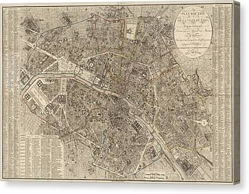 Antique Map Of Paris France By Ledoyen - 1823 Canvas Print by Blue Monocle