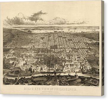 Antique Map Of Philadelphia By John Bachmann - 1857 Canvas Print by Blue Monocle