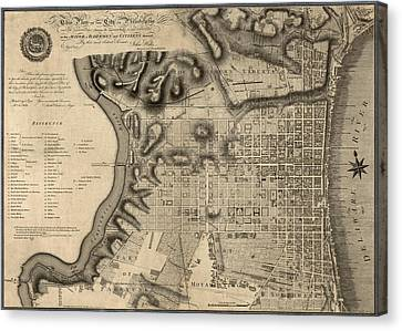 Antique Map Of Philadelphia By John Hills - 1797 Canvas Print by Blue Monocle