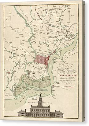 Old Canvas Print - Antique Map Of Philadelphia By Matthaus Albrecht Lotter - 1777 by Blue Monocle