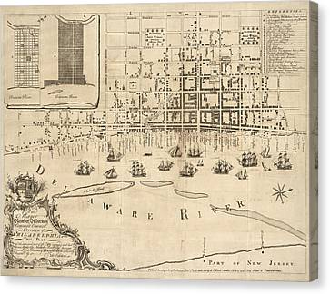 Antique Map Of Philadelphia By Nicholas Scull - 1762 Canvas Print by Blue Monocle